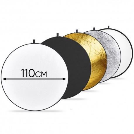 Reflector Difusor 110cm 5-en-1 para Video y Fotografia