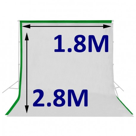 Kit 2 Telones de Fondo para Video 1.8m x 2.8 m Verde y Blanco.